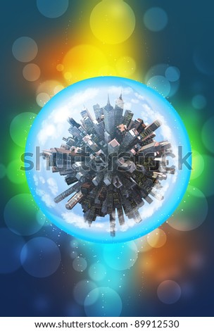 Miniature city inside in glass sphere - stock photo