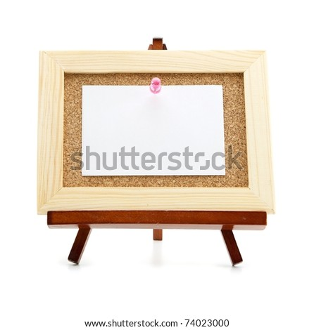 Miniature easel and cork board with blank memo paper, for inserting your message . Isolated on white. - stock photo