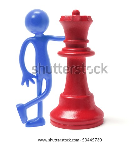 Miniature Figure and Queen Chess Piece on White Background