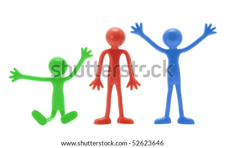 Miniature Figures on White Background