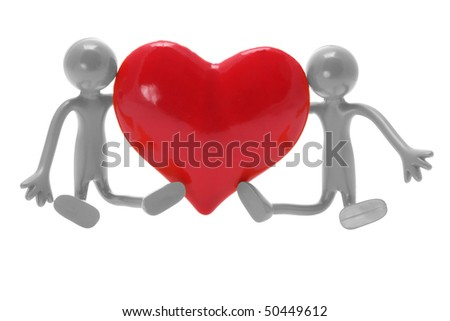 Miniature Figures with Love Heart on White Background