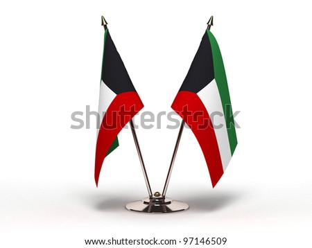 Miniature Flag of Kuwait  (Isolated with clipping path) - stock photo