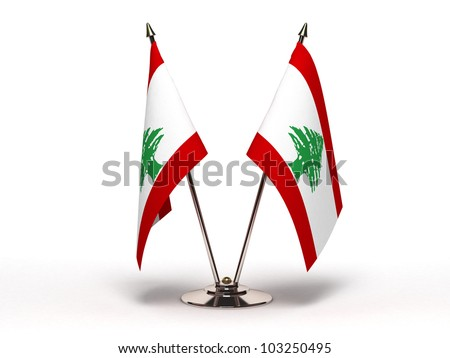 Miniature Flag of Lebanon (Isolated with clipping path) - stock photo
