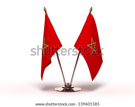 Miniature Flag of Morocco (Isolated with clipping path) - stock photo
