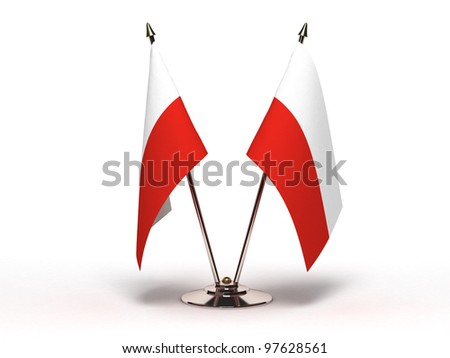 Miniature Flag of Poland  (Isolated with clipping path) - stock photo
