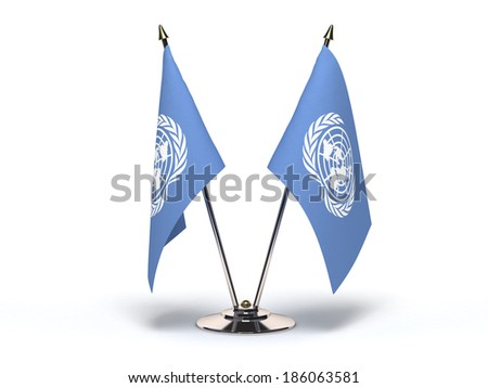 Miniature Flag of UN (Isolated with clipping path) - stock photo