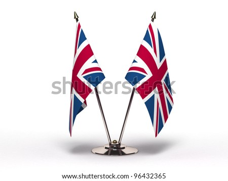 Miniature Flag of United Kingdom (Isolated) - stock photo