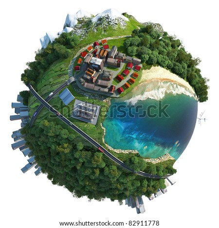 miniature globe showing various landscapes like mountain, beach, ocean, town, city, woods and also transports and communications. Isolated on white - stock photo