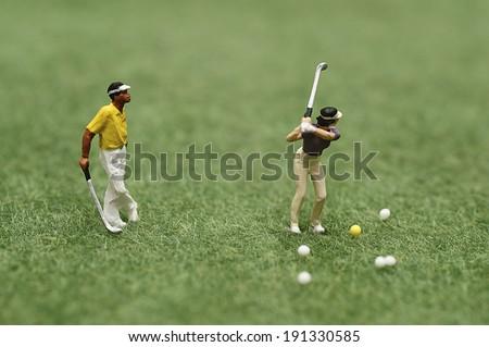 Miniature golfer - stock photo