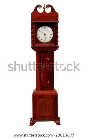 Miniature grandfather clock, isolated on white - stock photo