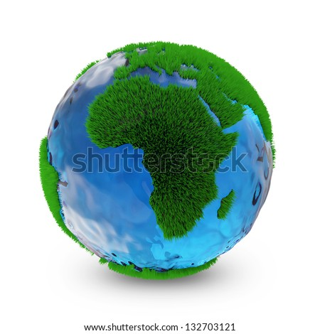 Miniature Green Earth Planet isolated on white background. Ecology Concept - stock photo