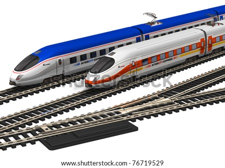 Miniature high speed trains - stock photo