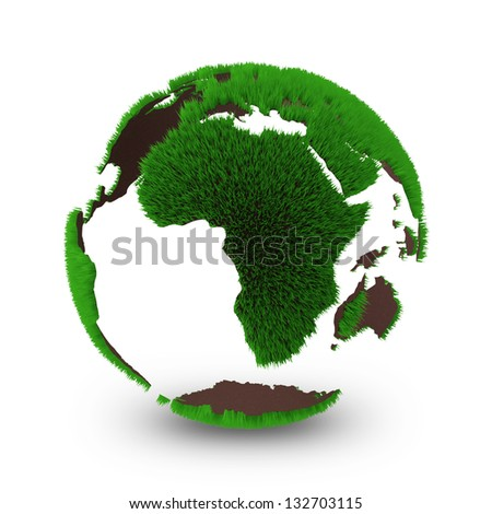 Miniature Hollow Earth Planet isolated on white background - stock photo