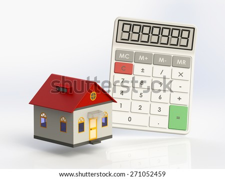 Miniature house with a calculator isolated on white background - stock photo