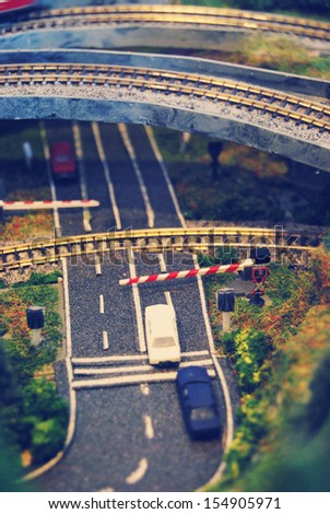 Miniature model highway - stock photo