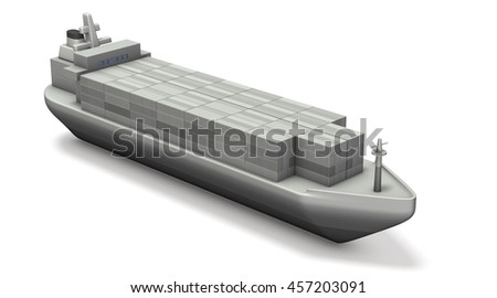 Miniature model of container ship. 3D illustration - stock photo