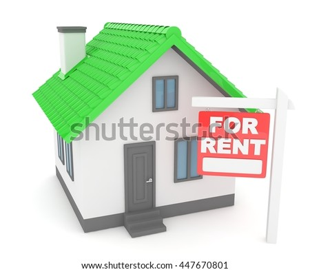 Miniature model of house real estate for sale on white background. Agency sale. 3D rendering. - stock photo