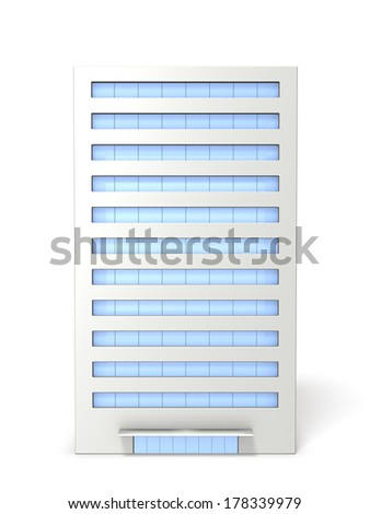 Miniature model of the building. Lined with large windows. - stock photo
