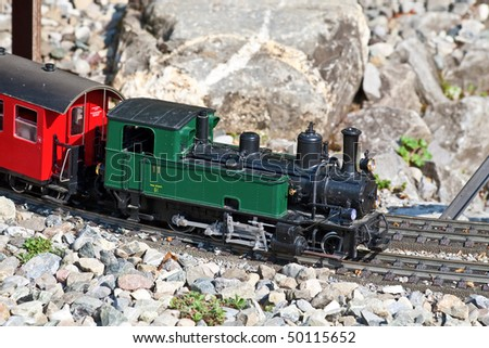 Miniature model of the steam train - stock photo