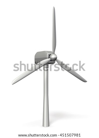 Miniature model of windmill for wind power generation. 3D illustration - stock photo