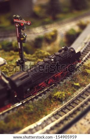 miniature model train - stock photo