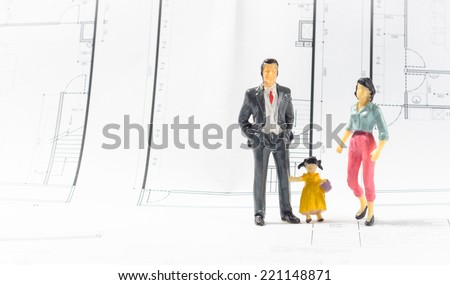 Miniature of business and family concept  family build home interior - stock photo