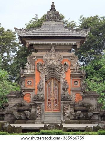 miniature of hinduistic temple in park Taman mini Indonesia in Jakarta - stock photo