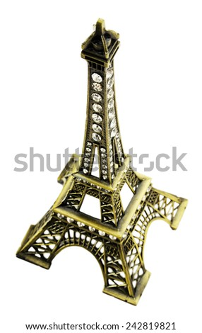 Miniature of the Eiffel Tower isolated on the white background - stock photo