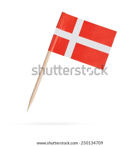 Miniature paper flag Denmark. Isolated on white background.With shadow below - stock photo