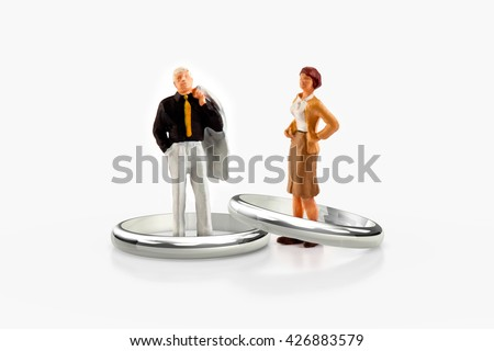 miniature people  - a senior married couple - stock photo