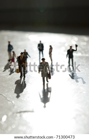 miniature people in travel on sun - stock photo
