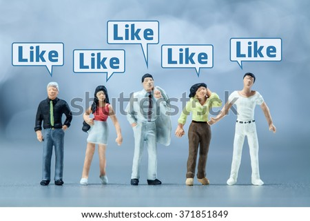 Miniature people -  People and social media  - stock photo