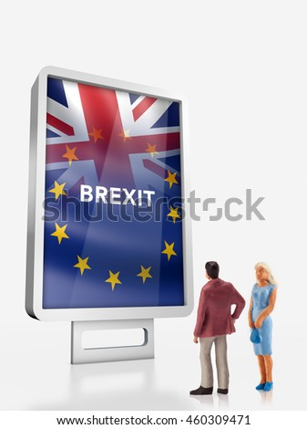 Miniature people â?? people in front a billboard with United Kingdom and European union flags combined for the 2016 referendum
