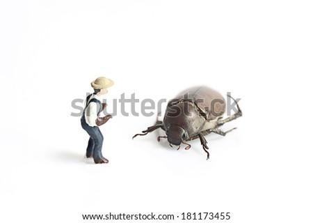 Miniature people with bug - stock photo