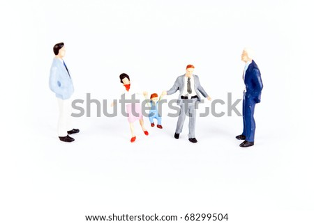 miniature people with family - stock photo