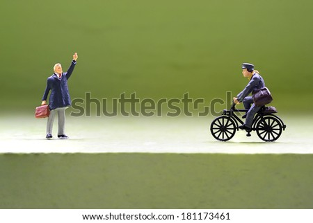 Miniature peoples greeting - stock photo