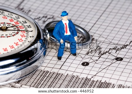 Miniature Person Sitting on a Stopwatch and Stock Chart. - stock photo