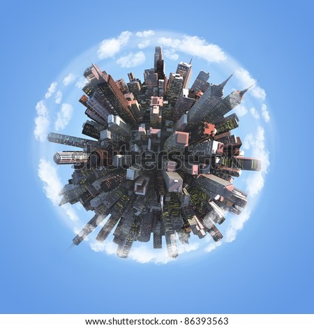 Miniature planet as concept for chaotic urban life - stock photo