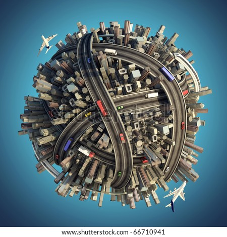 Miniature planet as concept for chaotic urban life isolated with clipping path - stock photo