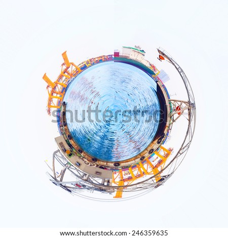 Miniature planet of  lifting floating crane vessel during operation. - stock photo