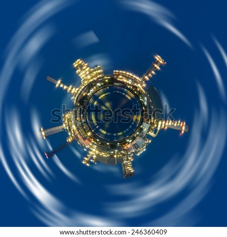 Miniature planet of oil refinery plant against at night - stock photo