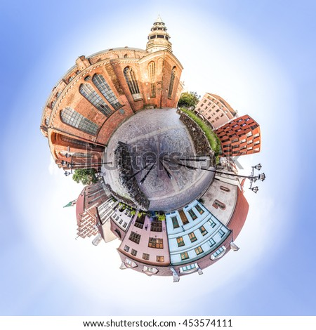 Miniature planet of Small Square with Old houses near the St. Peter and St. John's Churches. Panoramic montage of 41 HDR image - stock photo