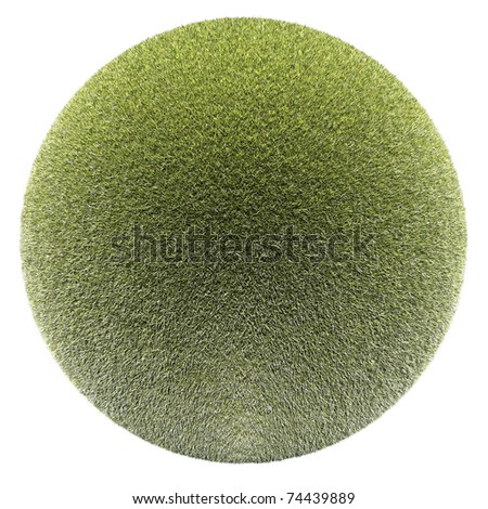 Miniature planet with clear thick grass lawn vegetation, isolated on white - stock photo