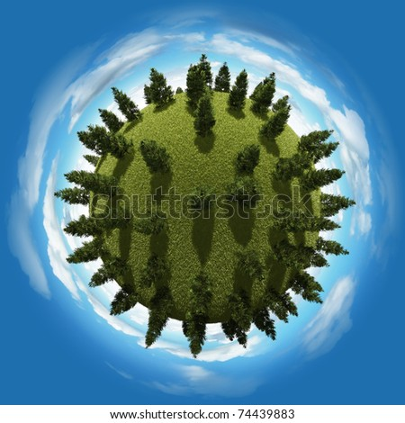 Miniature planet with sparse pine grove vegetation and clouds on blue sky - stock photo