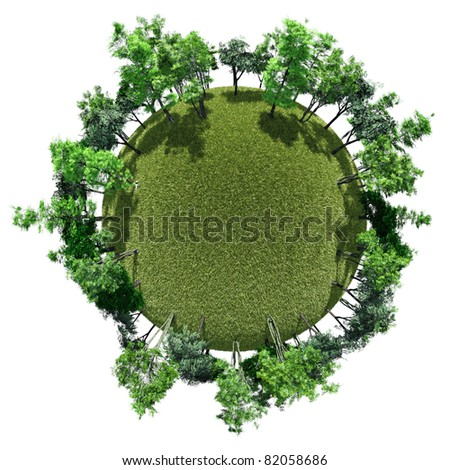 Miniature planet with trees in ring around grassy open clearing, isolated on white - stock photo