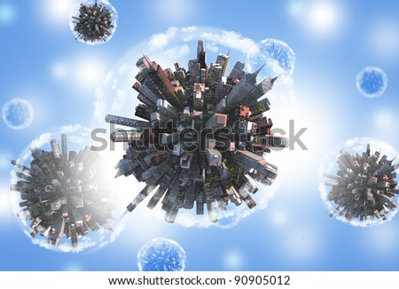 Miniature planets as concept for chaotic urban life - stock photo