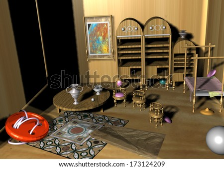 miniature puppet room with several cupboards, a table, a carpet and a bed, with a huge red button in the middle of the room