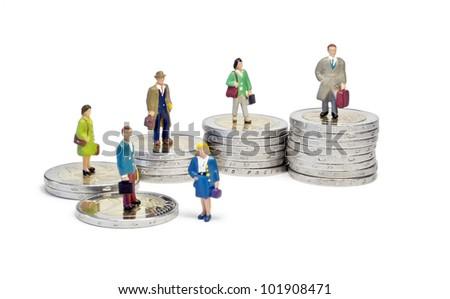Miniature queue two euro stairs - stock photo