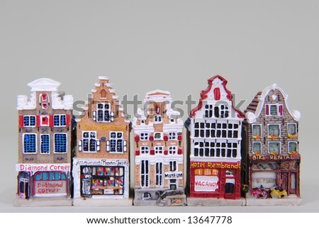 Miniature replicas of Dutch houses showing the different gables.