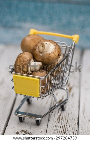Miniature shopping cart with mushrooms - stock photo